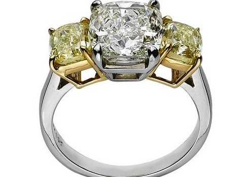 Review Platinum 6 ct. Yellow and White Cushion Cut GIA Certfied Diamond Ring