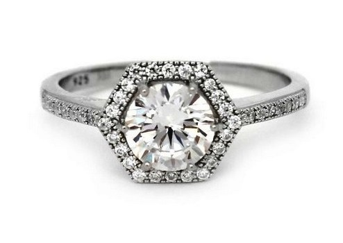 Sterling Silver Solitaire with accent 1.25ct Diamond Simulation CZ Cubic Zirconia Halo Engagement Ring