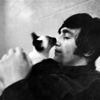 Jon Lennon With A Cat