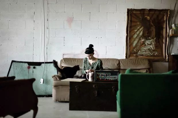grimes and a cat