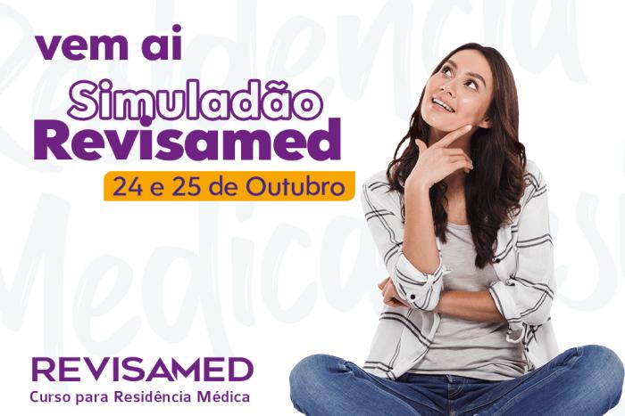 Jovem mostra que o Revisamed vai realizar no Simuladão de residência médica nos dias 24 e 25 de outubro