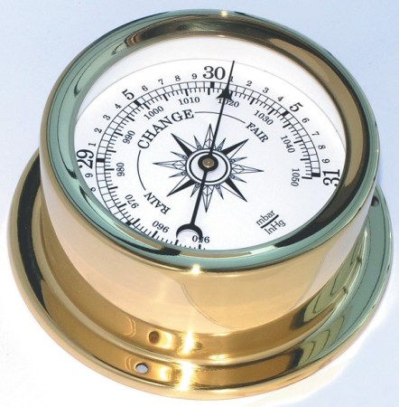 An aneroid barometer. Image imgkid.