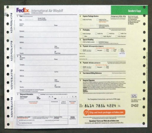 an air waybill for use with fedex