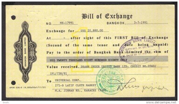 A bill of exchange. Image credit delcampe.net