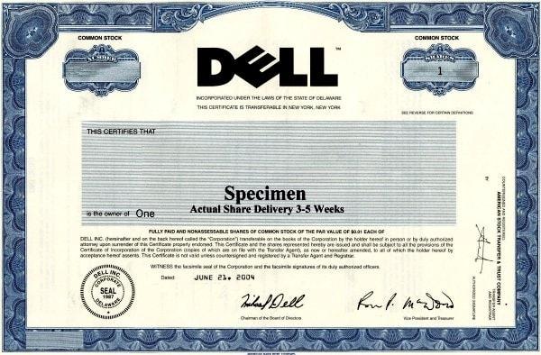 Share certificate. Image credit genafashion.com