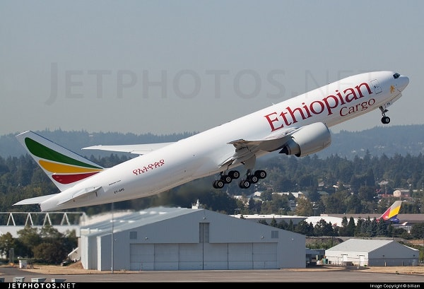 An Ethiopian airways cargo plane. Image credit theafricanaviationtribune.com