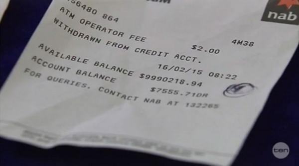 Overdraft receipt. Note an overdraft is an asset to the bank. Image credit consumerist.com