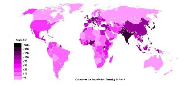 World population distribution. Image credit MediaWiki