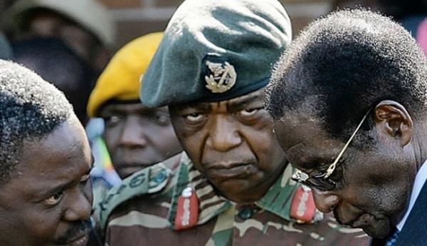 Mugabe and military officers. image credit insiderzim.com