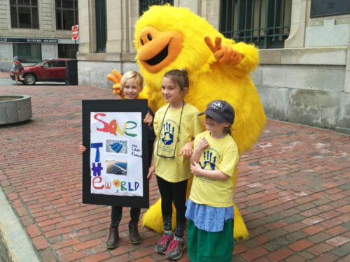 Sunsquatch with kids who want to save the world