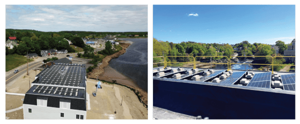 A drone shot and rooftop image side by side show MSB's solar array overlooking the Machias River.