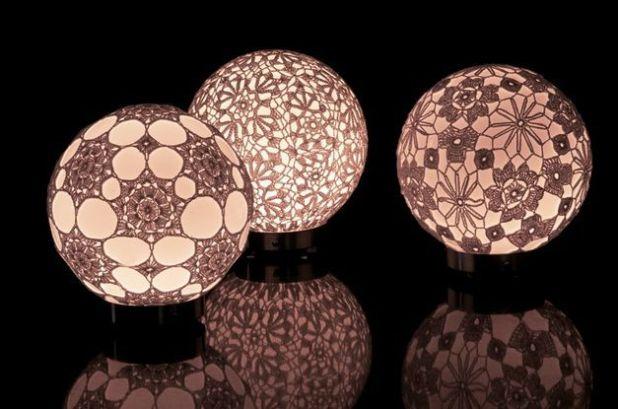 luminaria artesanal com croche