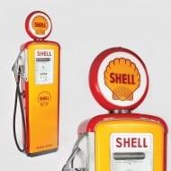 Pompă de benzină Shell, cu glob luminos, anii 1950, piesă de design