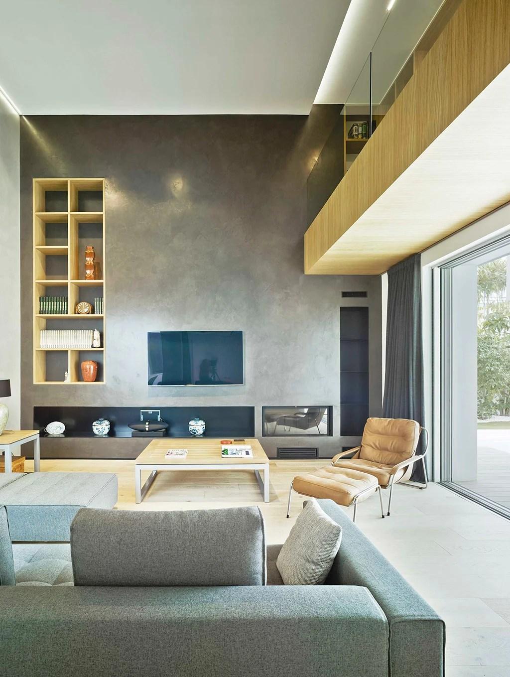 Unifamiliar minimalista. Sala de estar.