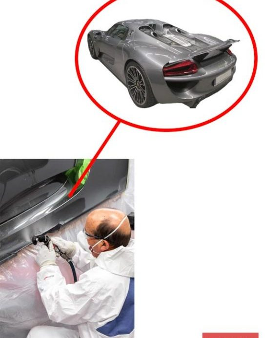 Reparación del lateral del Porsche 918.