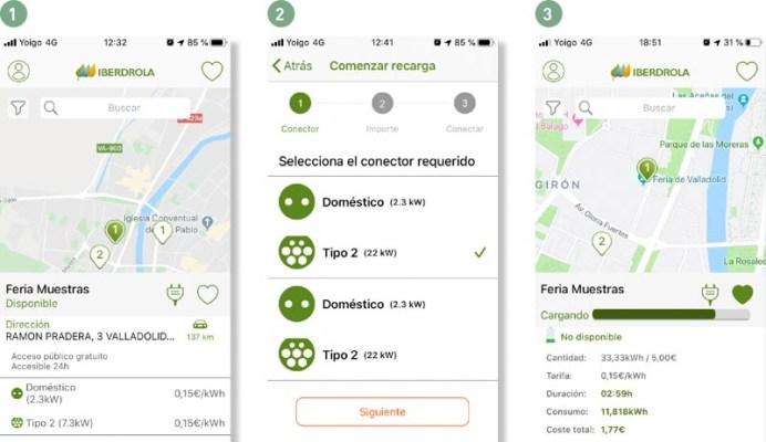 App de Iberdrola, Selección de punto de carga 1, selección de conector 2 y datos de carga 3