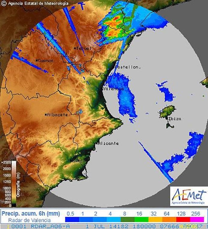 Las imagenes de radar informan de la zona de granizo