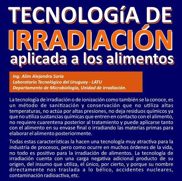 Tecnología de irradiación aplicada a los alimentos