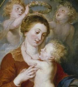 Pedro Pablo Rubens, La Virgen y el Niño en un cuadro rodeado de flores y frutas. Detalle