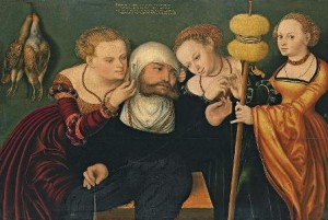 Obra de Hans Cranach, Hércules en la corte de Onfalia (1537)
