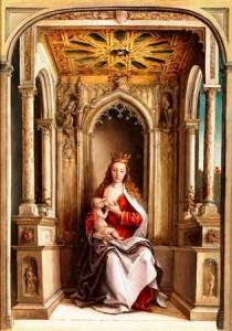 1.La Virgen de la leche de Pedro Berruguete.Óleo sobre tabla, 61 x 44 cm. h. 1500. Depósito del Ayuntamiento de Madrid