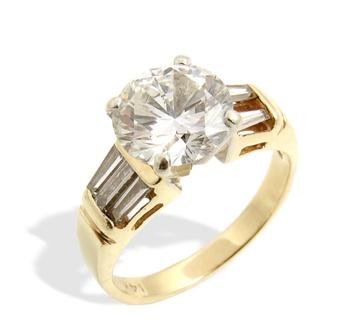 10 Suttons & Robertsons Sortija de oro blanco, con un brillante y cinco diamantes
