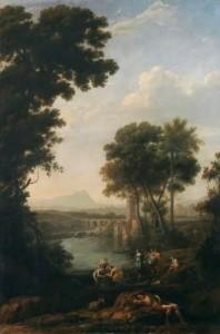 Paisaje: Moisés sacado de las aguas. Claudio de Lorena. Óleo sobre lienzo, 209 x 138 cm. 1636 – 1641. Madrid, Museo Nacional del Prado