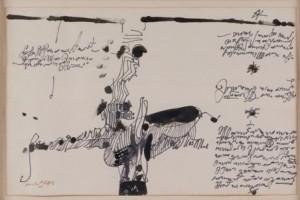 590: MANOLO MILLARES Las Palmas de Gran Canaria ,1926-Madrid, 1972 SIN TITULO Tinta sobre papel de 32 x 50 cm. Firmado. Realizado en 1971. Salida: 17.000 €