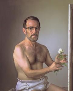 YO CON UNA FLOR DE OTOÑO. 1999. Oleo sobre lienzo. 81 x 65 cm.
