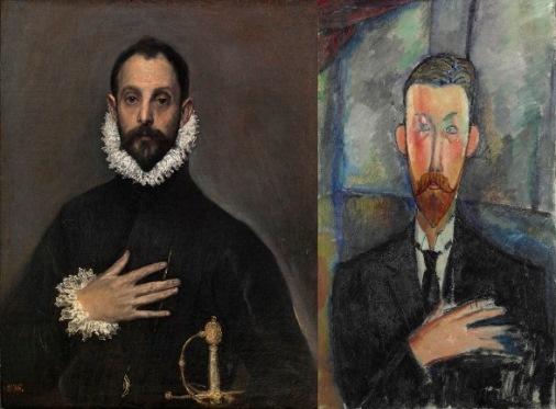 El caballero de la mano en el pecho, El Greco. Paul Alexandre ante una vidriera, Amedeo Modigliani