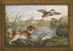 Lote 703:Taller de Barbieri (Roma, siglo XIX). Paisaje con perro de caza. Placa de micromosaico, 14x 20 cm. Precio de salida: 2000 euros