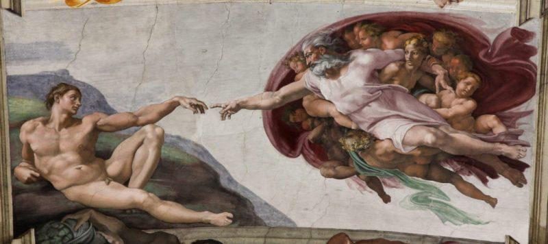 A Criação de Adão. Michelangelo. Wikipedia.
