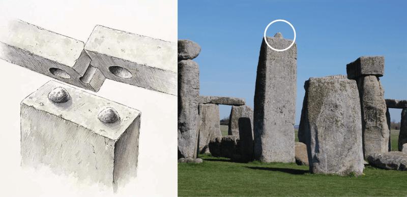 Sistema de encaixes nas pedras do Stonehenge. Fotografia de Nikki Boncan. Esquema de Peter Dunn.