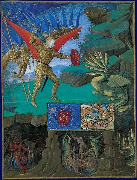 São Miguel lutando contra o dragão (miniatura do Livro de Horas de o Cavaleiro Étienne) / Wikipedia