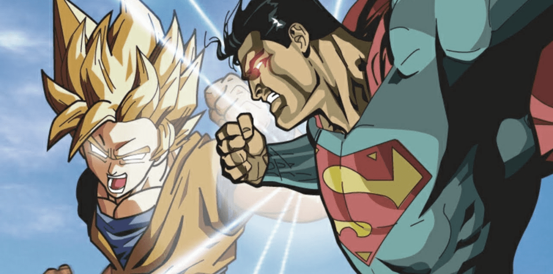 Fan Arte de Goku y Superman. cómic americano vs manga