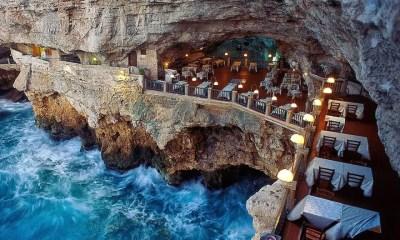 Restaurante construído dentro de uma gruta é destino obrigatório na Itália