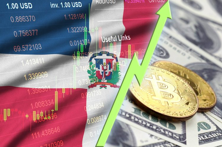 Dominican Republic flag and cryptocurrency growing trend with two bitcoins on dollar bills. Concept of raising Bitcoin in price against the dollar