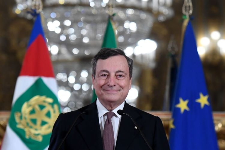 Mario Draghi, Italy's prime minister-designate, smiles at a news conference following a meeting with Italy's President Sergio Mattarella in Rome, Italy, on Friday, Feb. 12, 2021. Draghiagreed to take over as Italys next prime minister, naming his ministers as he prepares to head a new government that will prioritize the pandemic, a struggling economy and moving ahead with European integration. Photographer: Alessandro Di Meo/ANSA/Bloomberg via Getty Images