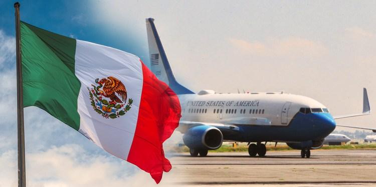 Estados Unidos va al rescate de México que vive crisis por coronavirus y caída del turismo, avión, aeropuerto, bandera México