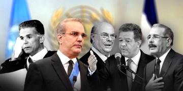 Joaquín Balaguer, Luis Abinader, Hipólito Mejía, Leonel Fernández y Danilo Medina durante discursos en la ONU
