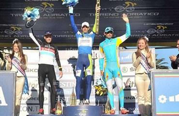 Podio Tirreno Adriático 2012: Nibali, Horner, Kreuziger