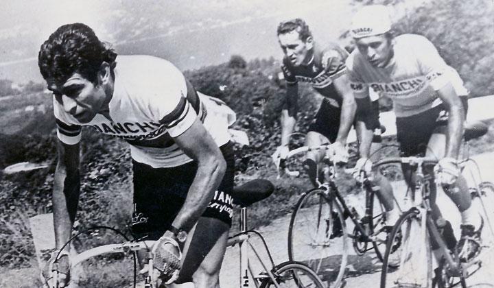 Este sábado se están cumpliendo cuatro décadas de la participación inicial de un escarabajo en el Giro de Italia. En la gráfica, Cochise con la gorra siempre escoltando a su líder de la Bianchi Campagnolo