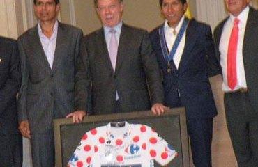 Quintana rodeado en Palacio por grandes estrellas del ciclismo colombiano
