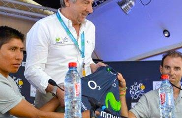 Eusebio Unzué, Nairo Quintana y Alejandro Valverde