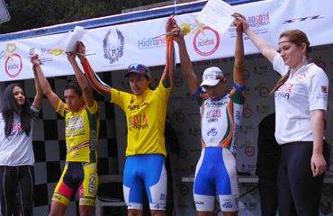 Juan David Vargas, Jair Pérez y Oscar Pachón en el podio élite