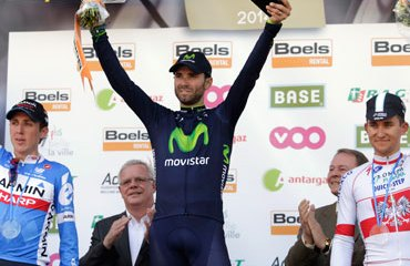Podio Flecha Valona 2014: Valverde, Martin y Kwiatkowski
