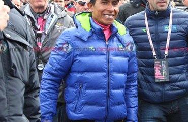 Quintana en su primer día como líder del Giro