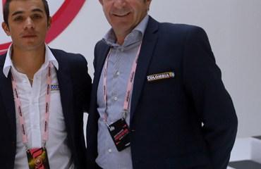 Duarte y Corti, el dúo del Team Colombia en la presentación de la 'Corsa Rosa'.
