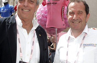 Andrés Botero, director de Coldeportes, con Claudio Corti, manager del Team Colombia.