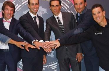Urán y Arredondo, ciclistas colombianos en la presentación de la edición 98.